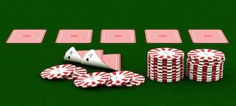 3D render van Casino chips en speelkaarten