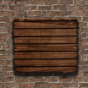 3D render van een grunge houten bord op een oude bakstenen muur