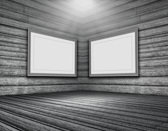 3D render van een grunge houten kamer interieur met blanco fotolijsten