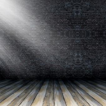 3D render van een grunge interieur met zonlicht schijnt van rechts