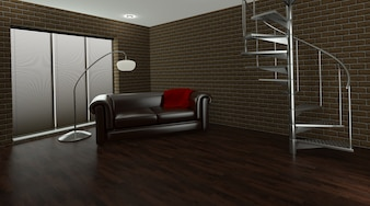 3D render van een hedendaagse interieur leefruimte