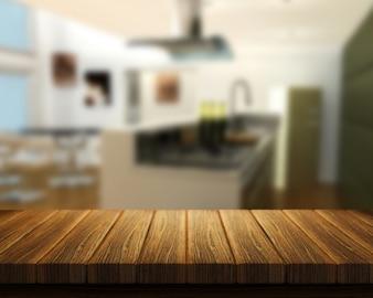 3D render van een houten tafel met een keuken op de achtergrond