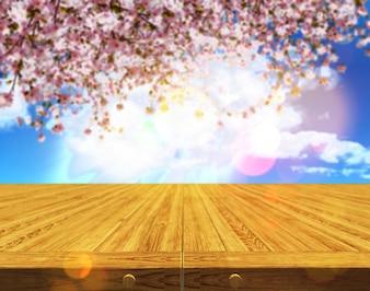 3D render van een houten tafel tegen een defocussed bloesem van de kersenboom achtergrond