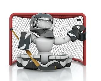 3D render van een ijshockey netminder