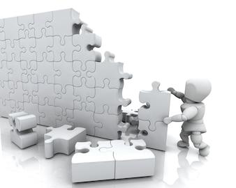 3D render van een man het oplossen van een puzzel