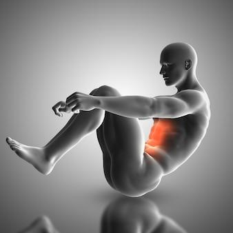 3D render van een mannelijke figuur doen crunch oefening met spieren gebruikt