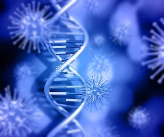 3D render van een medische achtergrond met DNA-streng en viruscellen