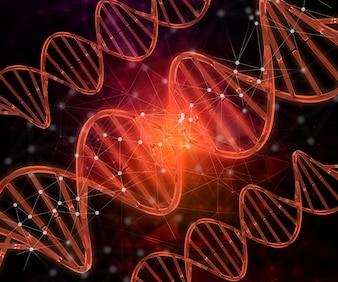 3D render van een medische achtergrond met DNA strengen die lijnen en punten verbinden