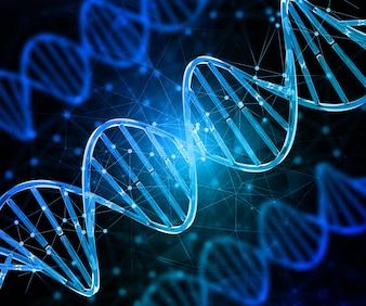 3D render van een medische achtergrond met DNA-strengen die punten dichten