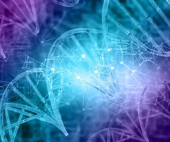 3D render van een medische achtergrond met DNA strengen