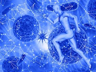 3D render van een medische achtergrond met een mannelijke figuur rennen en een andere viruscellen aanvallen