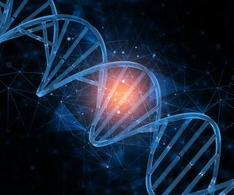 3D render van een medische achtergrond met verbindende punten en DNA-strengen