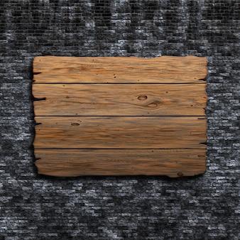 3D render van een oude houten bord tegen een grunge bakstenen muur