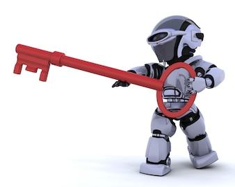 3D render van een robot met een sleutel