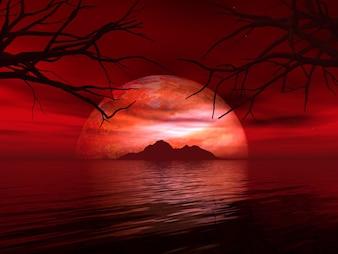 3D render van een surrealistisch landschap met fictieve planeet en eiland in zee
