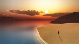 3D render van een vrouwelijke lopen op het strand bij zonsondergang