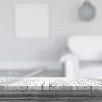3D render van een witte houten tafel kijken naar een defocussed kamer interieur
