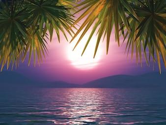 3D render van een zonsondergang oceaan landschap met palmbladeren