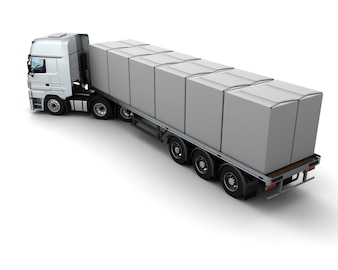 3D Render van HGV Truck Shipping White Boxes