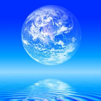 Abstract planeet aarde boven de zee