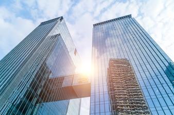 Abstracte architectuur blauwe ingang perspectief financieel