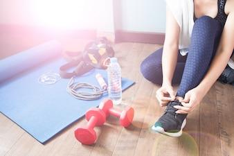 Actieve vrouw in sport fitness, Gezond levensstijl concept