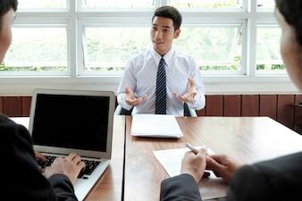 Bedrijfsituatie, job interview concept.