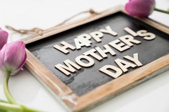 Blackboard met de dag van de moeder belettering