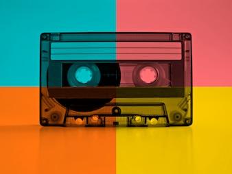 Cassette met retro kleur effecten