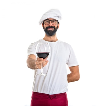 Chef-kok met wijnglas
