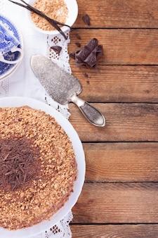Chocoladetaart van bovenaf gezien