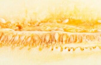 Close-up van sappige meloen met zaden