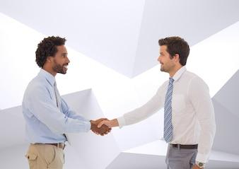 Collega's lachend introductie partnerschap kopie ruimte