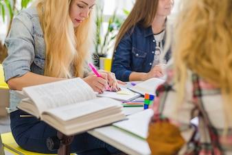 Crop studenten studeren samen