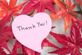 Dank u wel, in hartvormpapier met esdoornblad