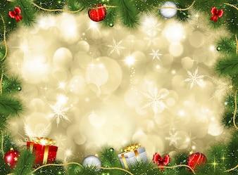 De achtergrond van Kerstmis met giften en snuisterijen