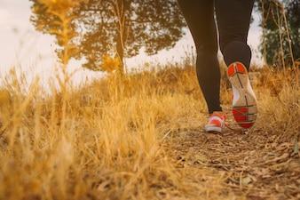 De benen van de vrouw lopen in de ochtend