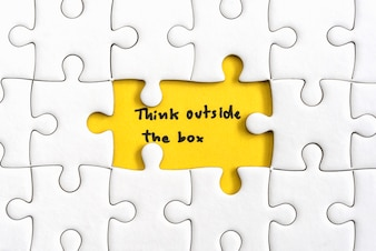 Denk buiten de doos citaten business concept