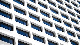Een detail schot van de achtergrond van het Office-gebouw venster