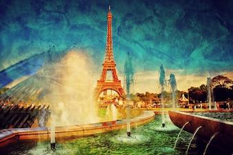 Eiffel Towerview door een bron