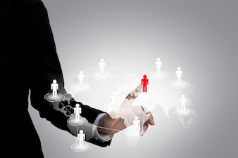 Executive aanraken van een pictogram in het sociale netwerk