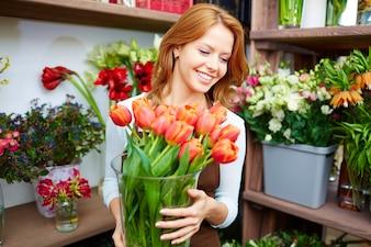 Flora volwassen vrouw vrolijk stam