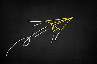 Geel papieren vliegtuig