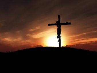 Gekruisigde Christus in het kruis