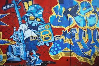 Graffiti van een graffiti op een bakstenen muur