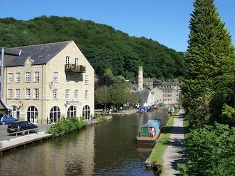 Groot-brittannië dorp engeland yorkshire stad west