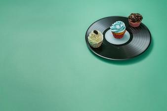 Heerlijke cupcakes op vinyl