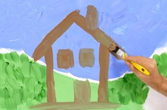 Het schilderen van een huis