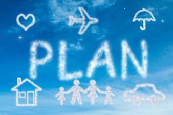 """Het woord """"plan"""" gemaakt met wolken"""