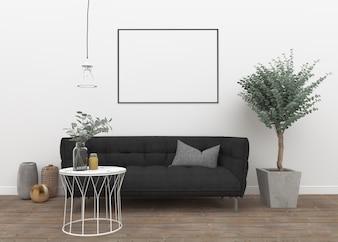 Horizontaal frame in scandinavische kamer